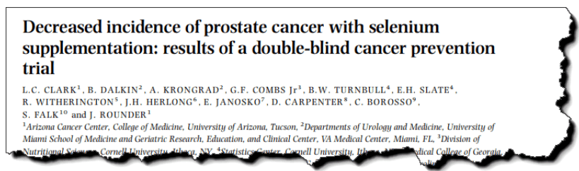 Decreased incidence of prostate cancer with selenium supplementation: results of a double-blind cancer prevention trial.
