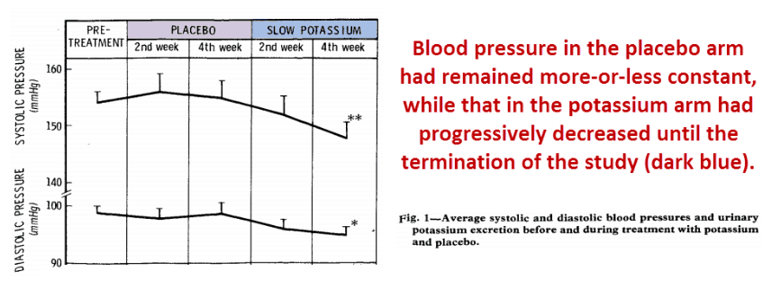 Blood pressure in the placebo arm had remained more-or-less constant, while that in the potassium arm had progressively decreased until the termination of the study (dark blue)