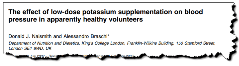 The effect of low-dose potassium supplementation on blood pressure in apparently healthy volunteers
