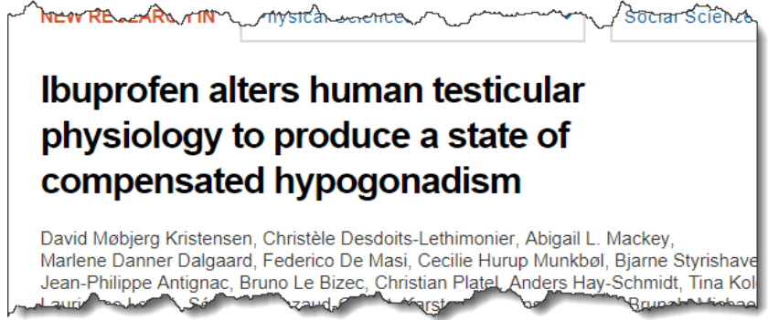 Ibuprofen alters human testicular physiology to produce a state of compensated hypogonadism