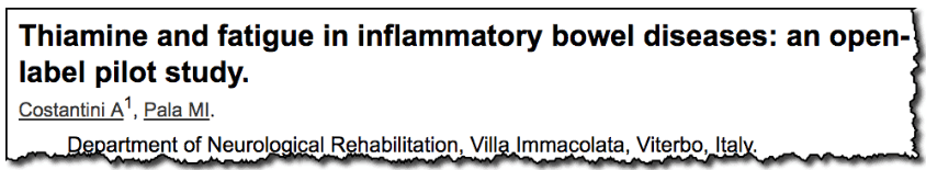 Thiamine and fatigue in inflammatory bowel diseases: an open-label pilot study.