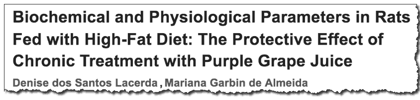 Biochemical and Physiological Parameters in Rats Fed with High-Fat Diet: The Protective Effect of Chronic Treatment with Purple Grape Juice