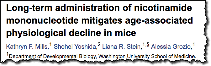 Long-term administration of nicotinamide mononucleotide mitgates age-associated physiological decline in mice