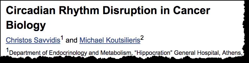 Circadian Rythm Disruption in Cancer Biology