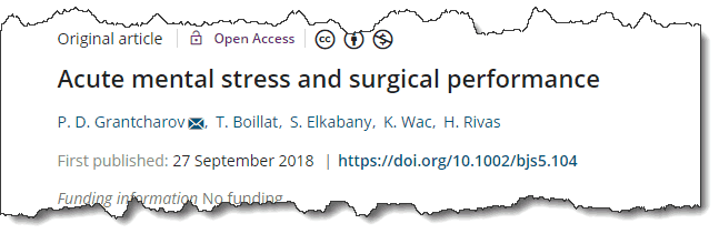 Acute mental stress and surgical performance