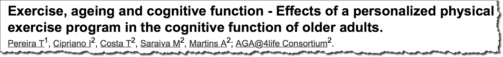 Exercise, ageing and cognitive function - Effects of a personalized physical exercise program in the cognitive function of older adults.
