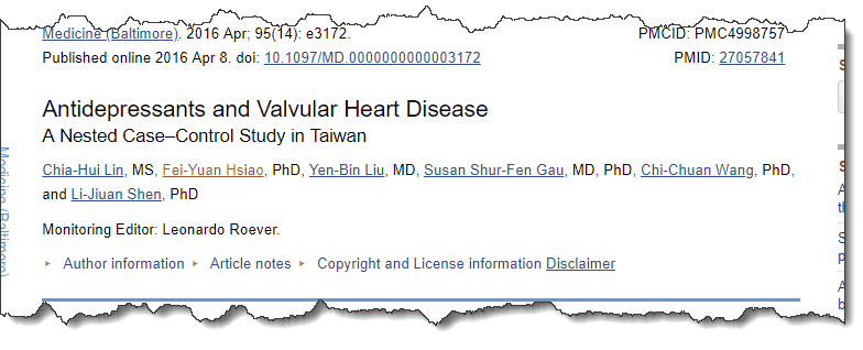 Antidepressants and Valvular Heart Disease