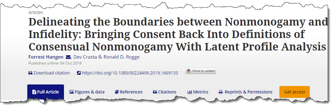 Delineating the Boundaries between Nonmonogamy and Infidelity: Bringing Consent Back Into Definitions of Consensual Nonmonogamy With Latent Profile Analysis
