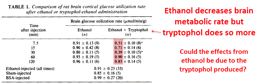Ethanol decreases brain metabolic rate but tryptophol does so more