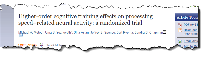 Higher-order cognitive training effects on processing speed-related neural activity: a randomized trail.