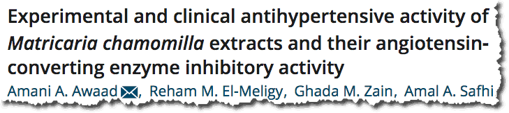 Experimental and clinical antihypertensive activity of Matricaria chamomilla extracts and their angiotensinconverting enzyme inhibitory activity