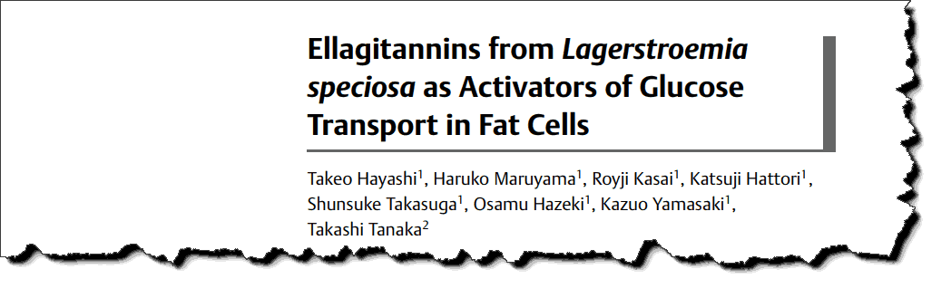 Ellagitannins from lagerstroemia speciosa as Activators of Glucose Transport in Fat Cells