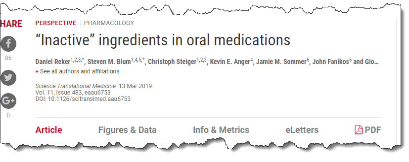 """""""Inactive"""" ingredients in oral medications"""