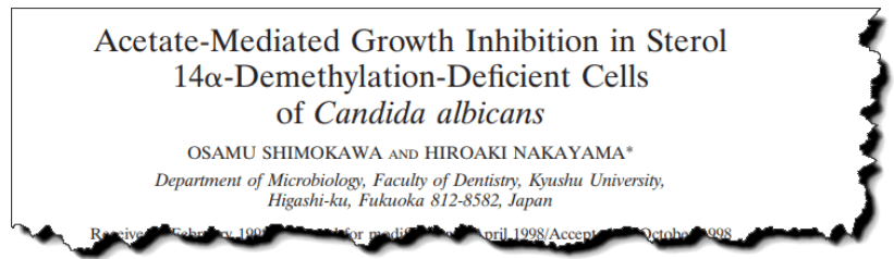 Acetate-mediated growth inhibition in sterol 14α-demethylation-deficient cells of Candida albicans.