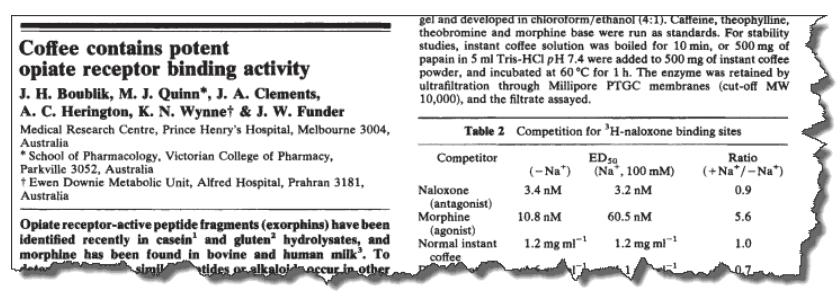 Coffee contains potent opiate receptor binding activity