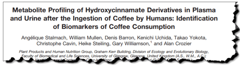 Metabolite profiling of hydroxycinnamate derivatives in plasma and urine after the ingestion of coffee by humans: identification of biomarkers of coffee consumption.