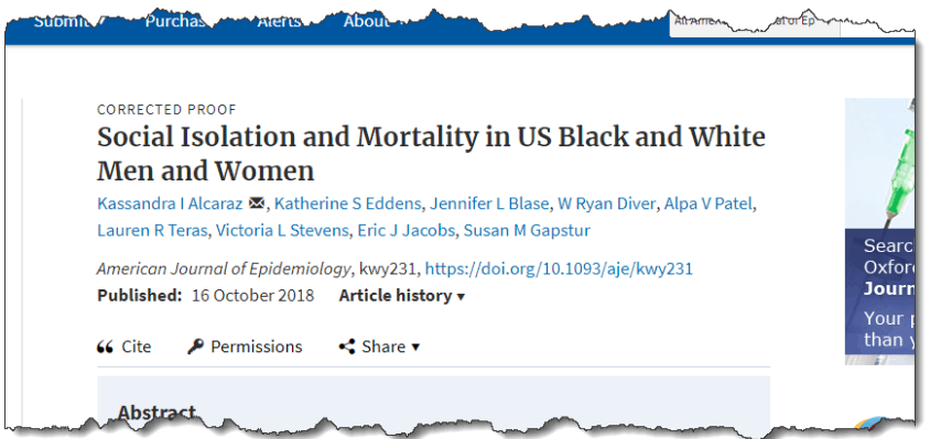 Social Isolation and Mortality in US Black and White Men and Women