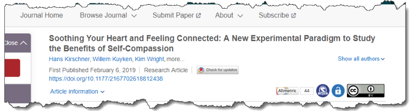 Soothing Your Heart and Feeling Connected: A New Experimental Paradigm to Study the Benefits of Self-Compassion