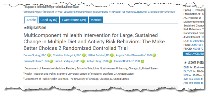 Multicomponent mHealth Intervention for Large, Sustained Change in Multiple Diet and Activity Risk Behaviors: The Make Better Choices 2 Randomized Controlled Trial
