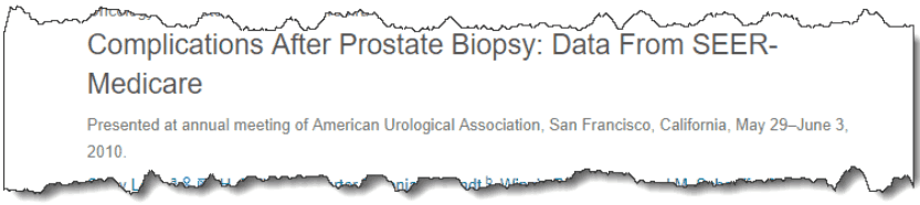 Complications After Prostate Biopsy: Data From SEER-Medicare