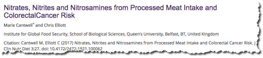 Nitrates, nitrites and nitrosamines from processed meat intake and colorectal cancer risk