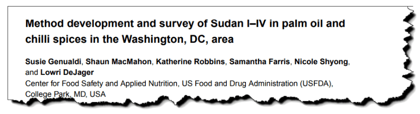 Method development and survey of Sudan I–IV in palm oil and chilli spices in the Washington, DC, area.