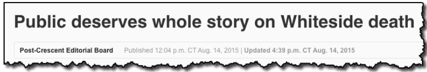 Public deserves whole story on Whiteside death