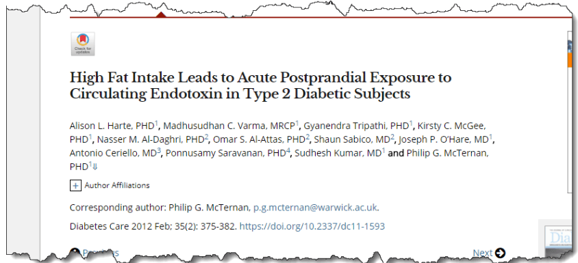 High Fat Intake Leads to Acute Postprandial Exposure to Circulating Endotoxin in Type 2 Diabetic Subjects