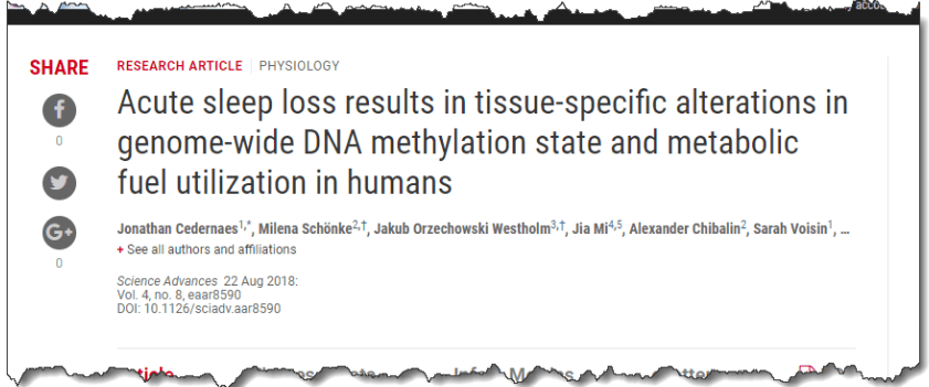 Acute sleep loss results in tissue-specific alterations in genome-wide DNA methylation state and metabolic fuel utilization in humans