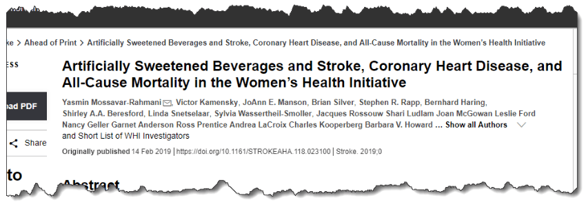 Artificially Sweetened Beverages and Stroke, Coronary Heart Disease, and All-Cause Mortality in the Women's Health Initiative