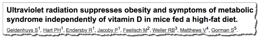 Ultraviolet radiation suppresses obesity and symptoms of metabolic syndrome independently of vitamin D in mice fed a high-fat diet.