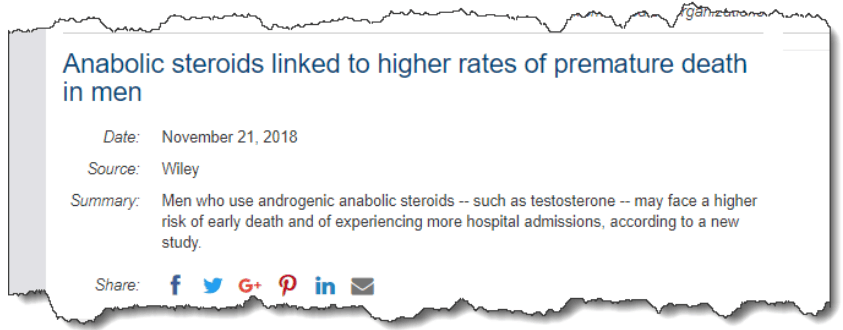 Anabolic steroids linked to higher rates of premature death in men