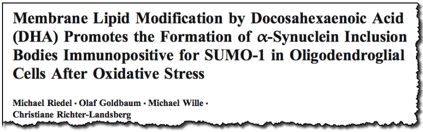 Membrane Lipid Modification by Docosahexaenoic Acid (DHA) Promotes the Formation of α-Synuclein Inclusion Bodies Immunopositive for SUMO-1 in Oligodendroglial Cells After Oxidative Stress