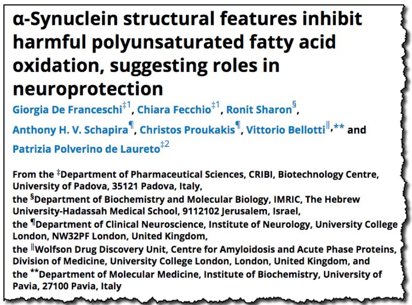 α-Synuclein structural features inhibit harmful polyunsaturated fatty acid oxidation, suggesting roles in neuroprotection