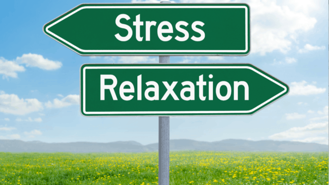 Two green direction signs - Stress or Relaxation
