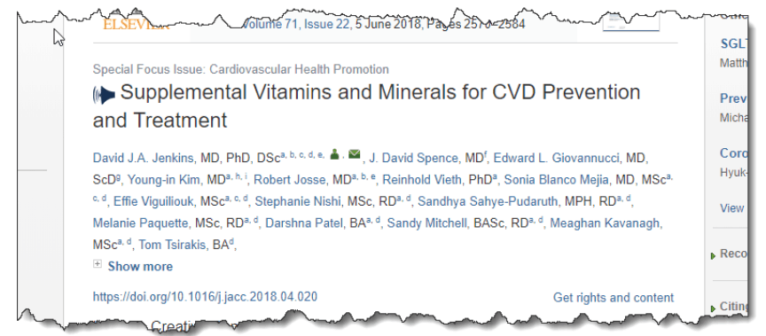Supplemental vitamins and minerals for CVD prevention and treatment