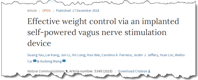 Effective weight control via an implanted self-powered vagus nerve stimulation device