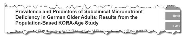 Prevalence and Predictors of Subclinical Micronutrient Deficiency in German Older Adults: Results from the Population-based KORA-Age Study
