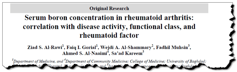 Serum boron concentration in rheumatoid arthritis: correlation with disease activity, functional class, and rheumatoid factor.